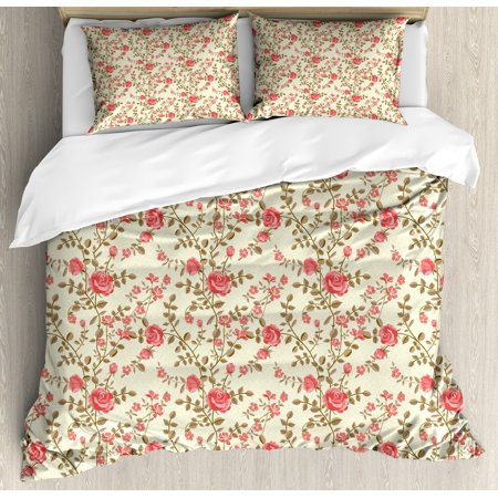 Rose King Size Duvet Cover Set, Rustic Pattern with Floral Stems Old Fashion Design Classical Feminine, Decorative 3 Piece Bedding Set with 2 Pillow Shams, Dark Coral Pale Yellow Tan, by Ambesonne