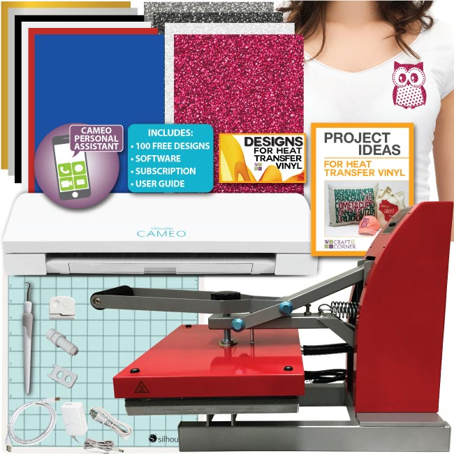 "Siser 11""x15"" Digital Clam Shell Heat Press Silhouette Cameo 3 Machine Bundle"