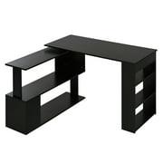 HOMCOM 360° Rotating Corner Desk L Shaped Computer Desk Student Writing Table Workstation with Storage Shelf Home Office, White