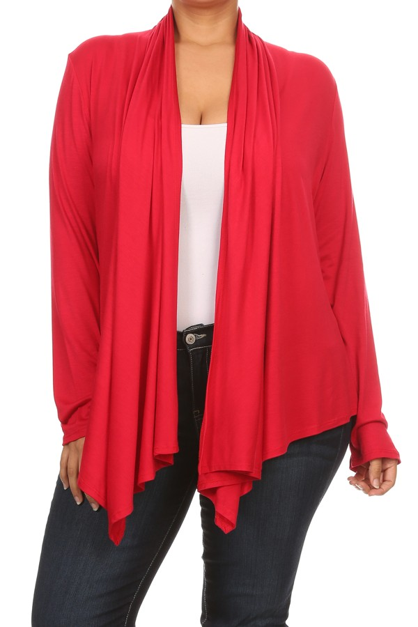 Women's PLUS trendy style , long sleeves solid cardigan.