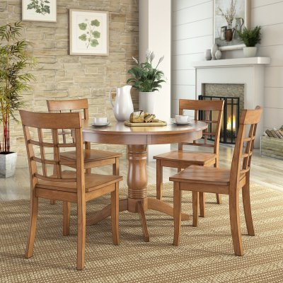 Lexington 5-Piece Dining Set with Round Table and 4 Window Back Chairs, Oak - Oak Tables And Chairs