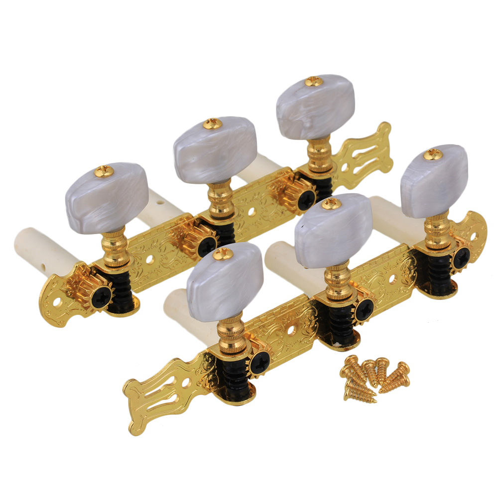 BQLZR Golden Mica Color Rectangle Button Zinc Alloy 3L+3R 6 String Guitar Tuning Keys Pegs Machine Head Tuner for Classical Guitar Pack of 2