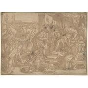 """Holofernes before Nebuchadnezzar (Judith 2:4-13) Poster Print by Maerten de Vos (Netherlandish  Antwerp 1532  """"1603"""