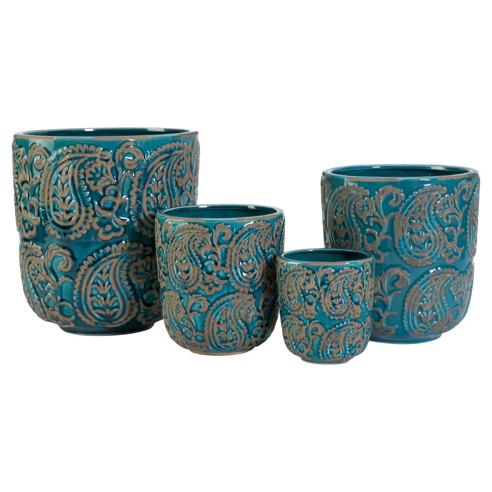 Paisley Blue Planters - Set of 4