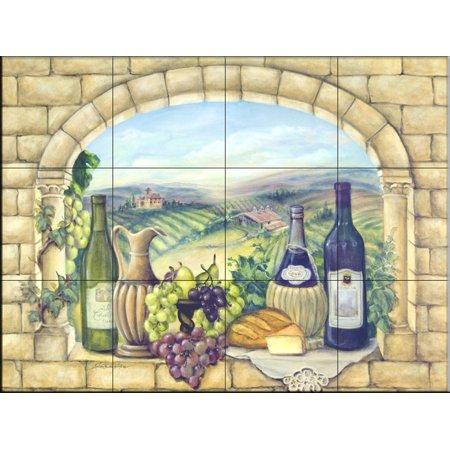 Ceramic Tile Mural Tuscan Wine By Rita Broughton Kitchen Backsplash Bathroom Shower