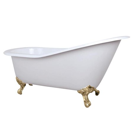 - 61 x 7 in. Cast Iron Slipper Clawfoot Tub without Faucet Drillings, Polished Brass