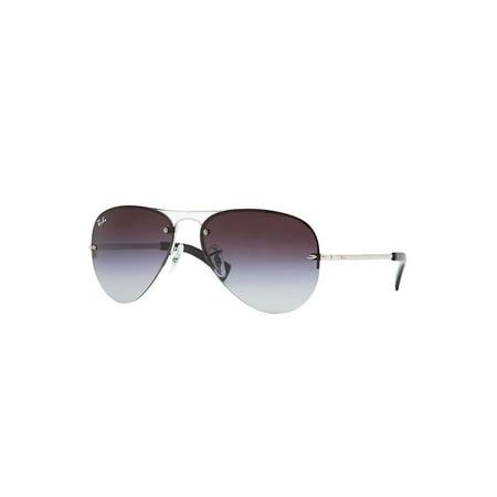 Ray-Ban RB3449 003/8G Highstreet Semi-Rimless Aviator Silver Frame Grey Gradient Lens Sunglasses