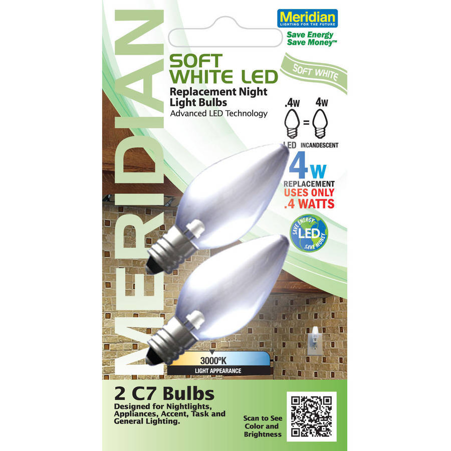 Meridian SMD-LED C7 Replacement Nightlight Bulb, 2-Pack