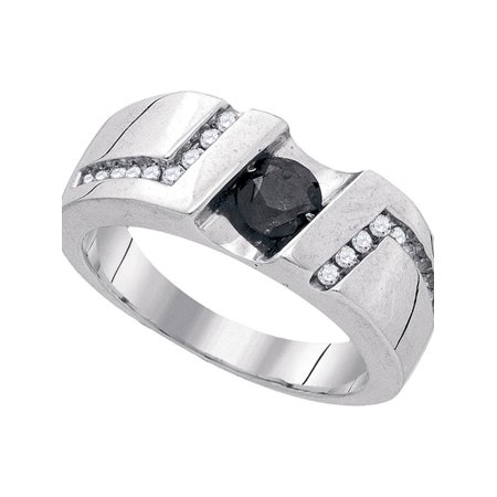 Sterling Silver Mens Round Black Color Enhanced Diamond Solitaire Wedding Band Ring 1.00 Cttw - image 1 of 1