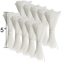1000ct Cable Zip Ties Heavy Duty Industrial Grade White Nylon Bundling 5""