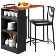 Best Choice Products 3-Piece Wooden Counter Height Dining Table Set for Kitchen, Dining Room w/ Storage - Espresso