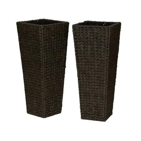 Household Essentials Tall Resin Wicker Floor Vase Planters Set Of 2
