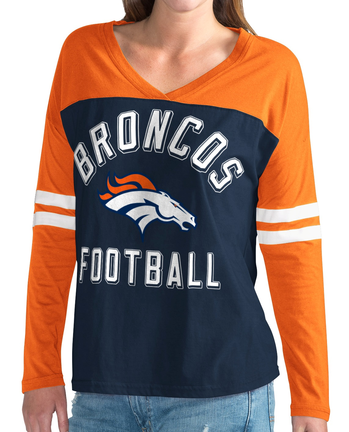 "Denver Broncos NFL Women's G-III ""Goal Line"" Long Sleeve V-Neck T-shirt by G-III Sports"