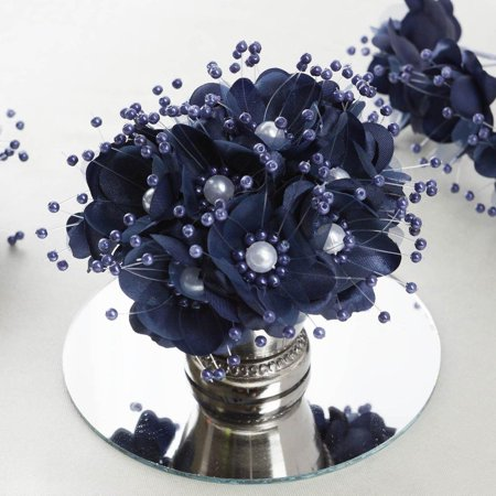 - Faux Pearl Decor Flower Braids Corsage Boutineer Craft Navy Blue 72/Pack