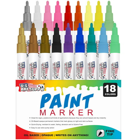 U.S. Art Supply 18 Color Set of Fine Point Tip Oil Based Paint Pen Markers - Permanent Ink that Works on Most Surfaces