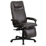 Flash Furniture High Back Brown LeatherSoft Executive Reclining Ergonomic Swivel Office Chair with Arms