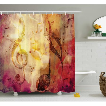 Modern Abstract Musical Artwork Classroom Music Note Jazz Symbols Shower Curtain - Classroom Curtains
