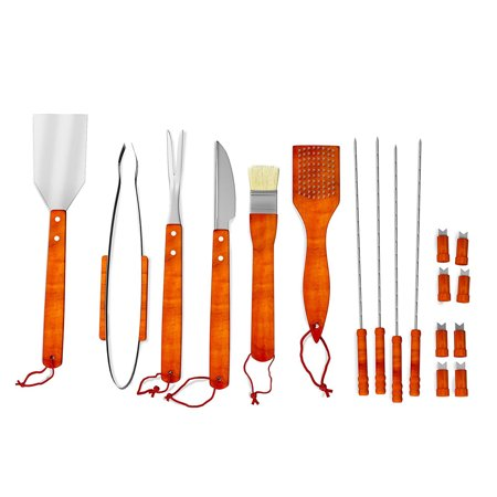 Wood BBQ Grill Tool Set- 18 Pc Stainless Steel Barbecue Accessories with Wooden Handles and Aluminum Case, Spatula, Tongs, Skewers By Home-Complete