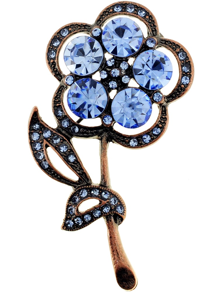 Vintage Style Blue Flower Sapphire Crystal Pin Brooch by