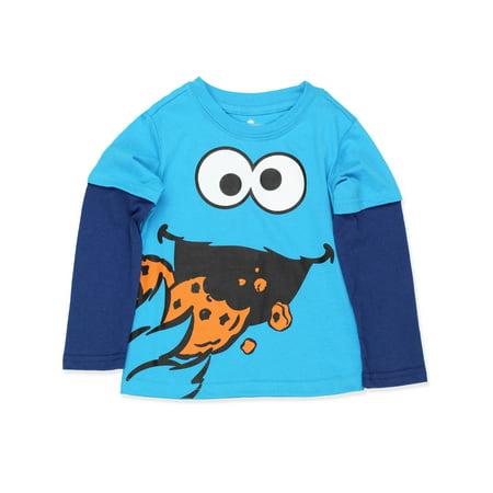 Sesame Street Cookie Monster Toddler Boys Long Sleeve Tee ASCB404 - Cookie Sleeves