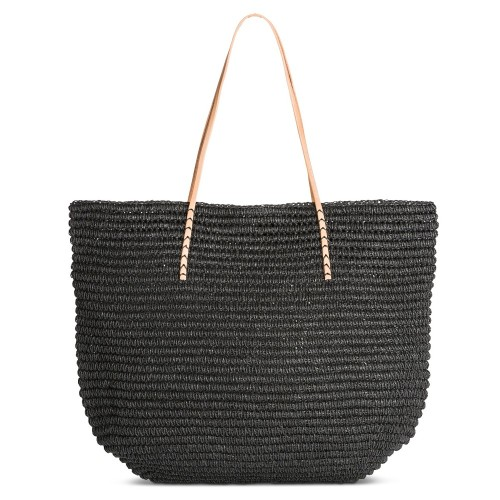 Merona Women's Solid Packable Large Straw Tote Bag, Black