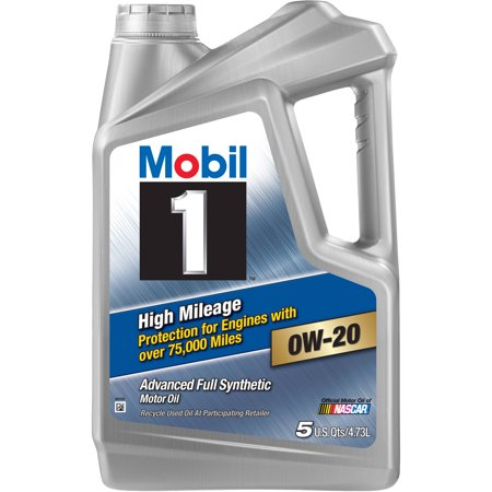 (3 Pack) Mobil 1 High Mileage Motor Oil 0W-20, 5 (Best Oil Additive For High Mileage Vehicles)