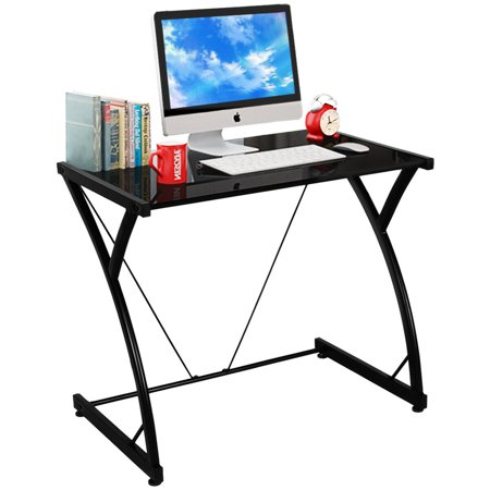 Costway Glass Top Computer Desk PC Laptop Table Writing Study Workstation Home