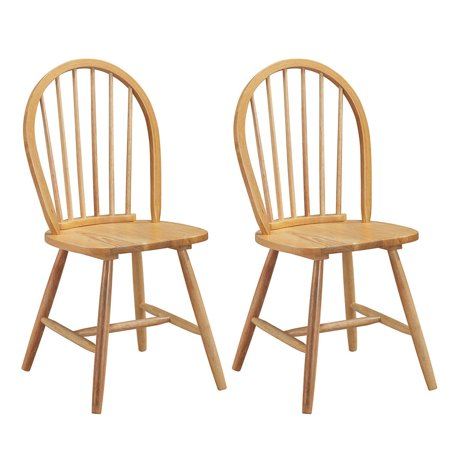 Set of 2 Windsor Chairs Wood Armless Dining Room Spindle Back Kitchen Natural Antique Spindle Back Chairs