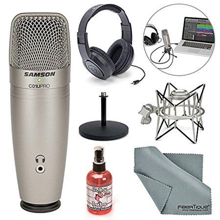 Samson C01U Pro USB Studio Condenser Microphone W/ Spider Shock Mount, Desktop Stand, Microphone sanitizer, Samson Stereo Headphones and FiberTique Cleaning