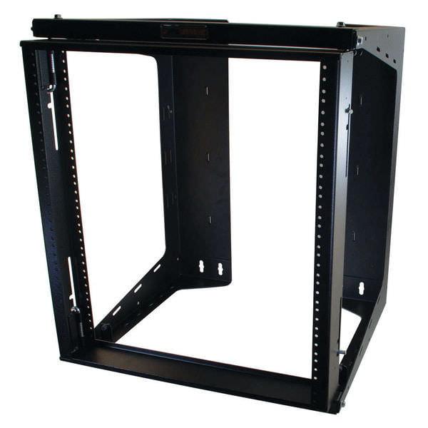 C2G APW 12u x 18in Swing Out Wallmount Rack - Black - 12U