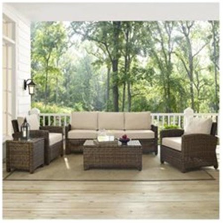 Image of Crosley Furniture Bradenton 5-Piece Outdoor Wicker Sofa Conversation Set with Sand Cushions - Sofa, Two Arm Chairs, Side Table & Glass Top Table