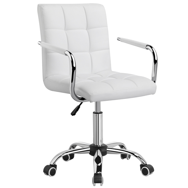 Modern Leather Office Chair Swivel Executive Computer Chair Office Stool  Task White - Walmart.com