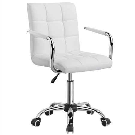 Modern Leather Office Chair Swivel Executive Computer Chair Office Stool Task White ()