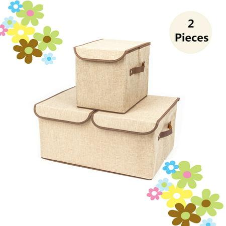 zimtown large storage boxes 2 pack large linen fabric foldable