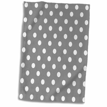 3dRose Grey and White Polka Dot Print - Towel, 15 by