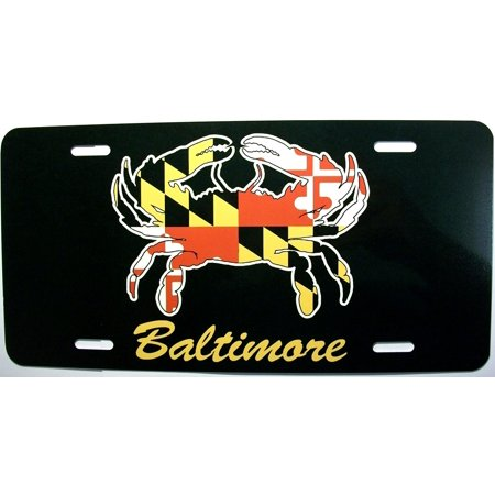 Baltimore Maryland Crab with Flag Design License Plate (Plates Baltimore)