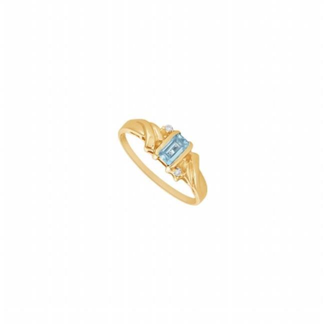 Fine Jewelry Vault UBA235Q-107RS7.5 Created Aquamarine & Diamond Ring 14K Yellow Gold, 1.00 CT - Size 7.5