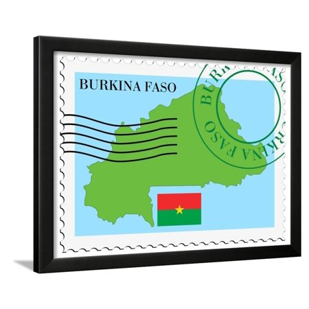 Stamp with Map and Flag of Burkina Faso Framed Print Wall Art By (Burkina Faso Stamp)