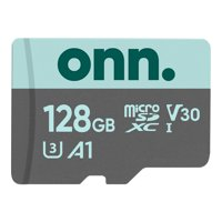 Onn. 128GB Class 10 U3 V30 microSDXC Flash Memory Card, up to 100MB/s read speed
