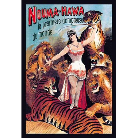 Female Premier Tamer of the World circus performer with her lions and tigers  Adolph Friedlnder was a famed German lithographer of posters and a publisher hailing from Hamburg His printshop produced o](Female Lion Tamer)