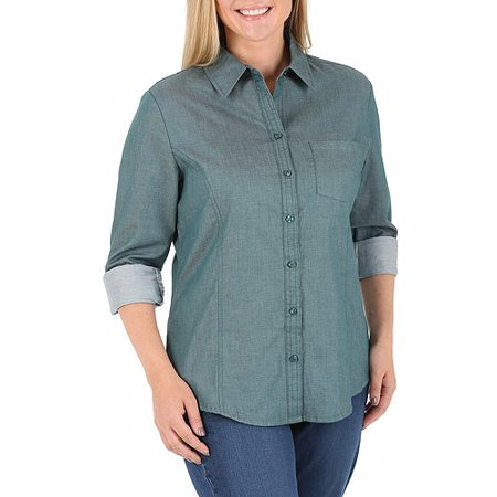 517a752a780 Riders by Lee - Riders by Lee Women s Plus-Size Casual Button-Front Shirt  With Flattering Princess Seams - Walmart.com