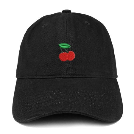 Trendy Apparel Shop Cherry Emoticon Embroidered 100% Soft Brushed Cotton Low Profile Cap - Black