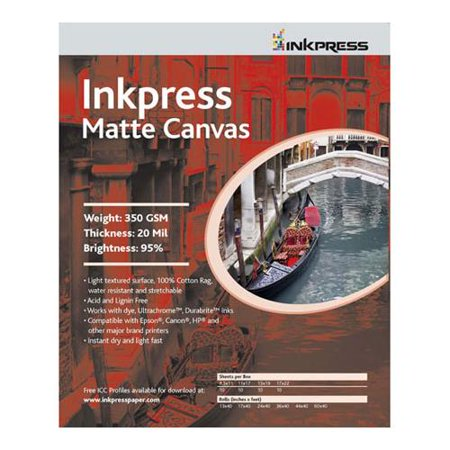 """Matte Canvas, Waterproof, Stretchable, Bright White Matte Inkjet Cloth, 20 mil, 350 gsm, 8.5x11"""", 50 Sheets"""