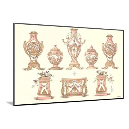 Sevres Porcelain Urns Wood Mounted Print Wall