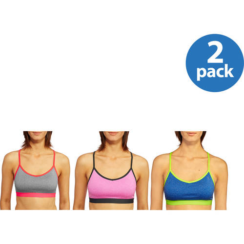 Danskin Now Women's Active Racerback Sports Bra with Mesh Back Detail, 2 pack