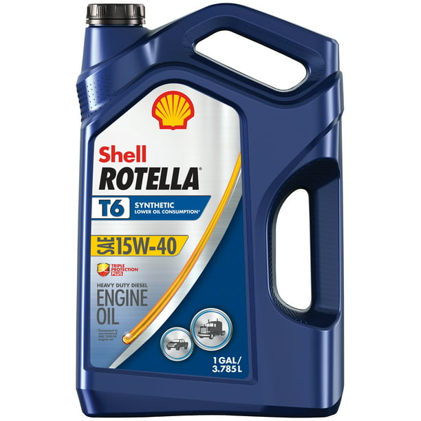 Shell Rotella T6 Full Synthetic Diesel Motor Oil SAE 15W-40, 1-Gallon