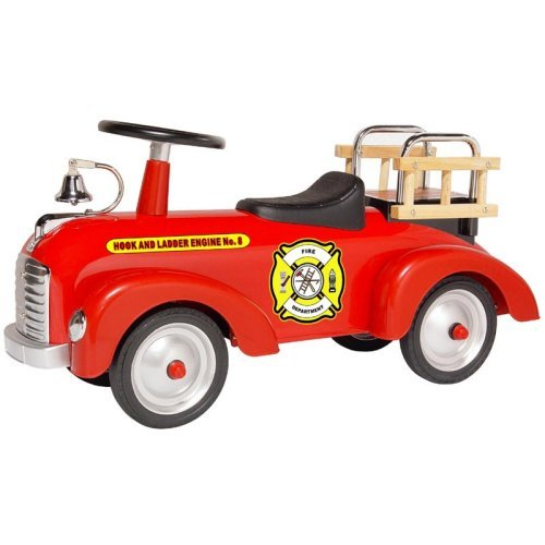Morgan Cycle Vintage Fire Engine Scoot-ster Riding Push Toy