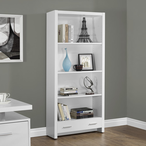 "Monarch Bookcase 71""H / Dark Taupe With A Storage Drawer"