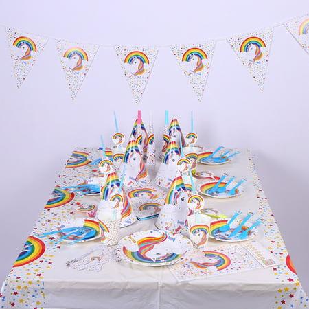 Birthday Supplies For Kids (Conpik Unicorn Theme Party Supplies Set Disposable Tableware Party Decoration Kit For Birthday)