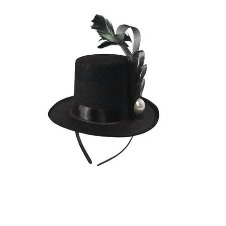 Black Mini Top Hat Fascinator On Headband Feather Pearl Stud Dancers Showgirl - Mini Tophats